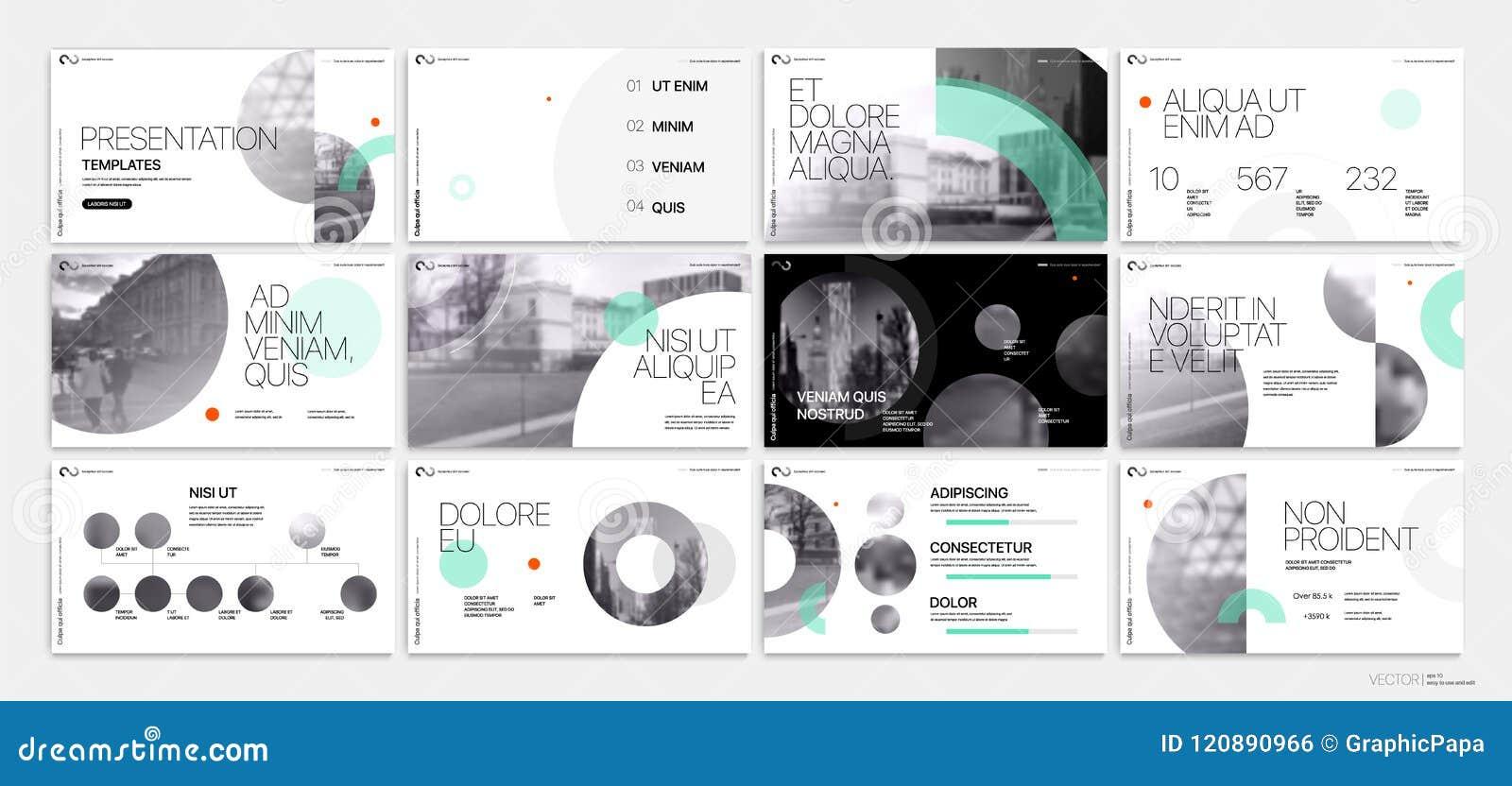 介绍Template.Yellow企业向量 幻灯片显示的绿色几何元素在白色背景