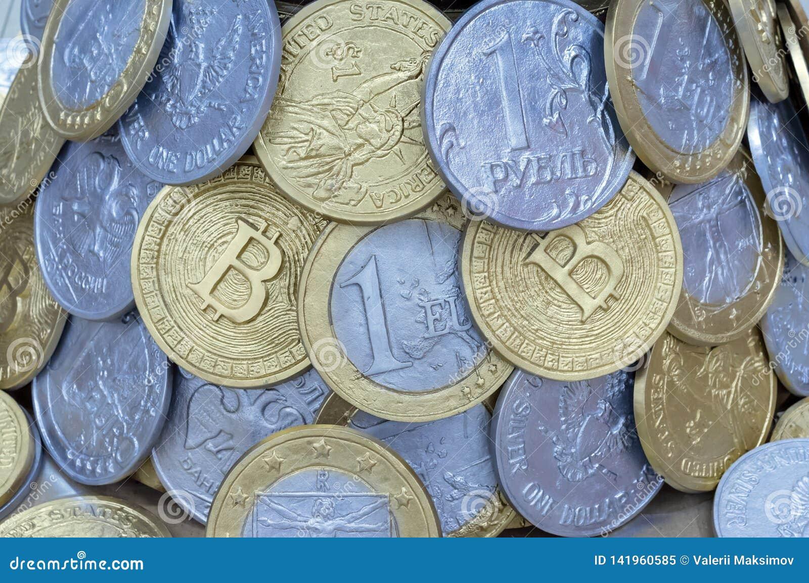 从不同的国家和bitcoins硬币的背景