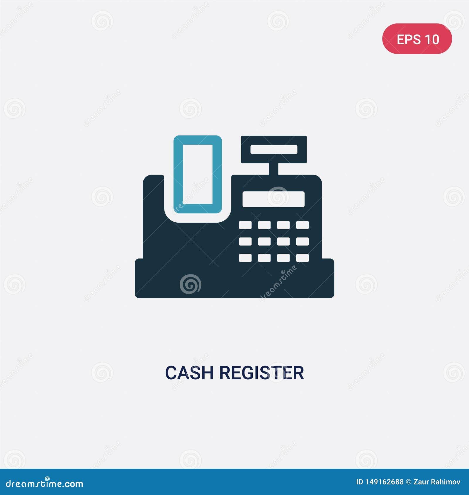 从付款方法概念的两种颜色的收款机传染媒介象 被隔绝的蓝色收款机传染媒介标志标志可以是用途为