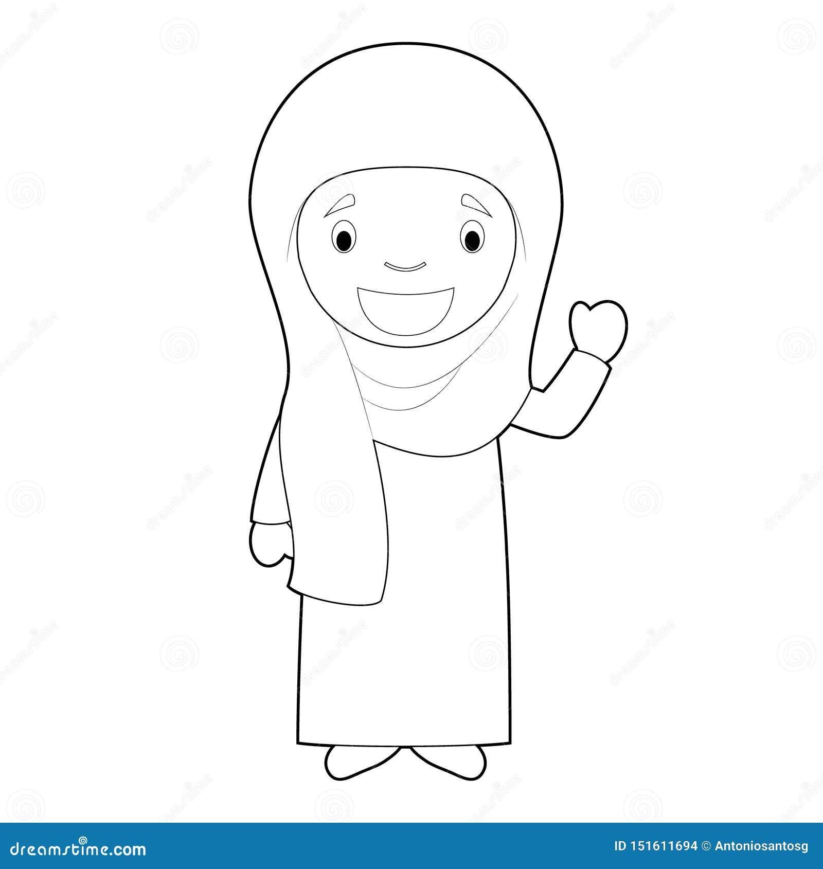 从伊朗的容易的上色妇女卡通人物穿戴了用与chador的传统方式 r