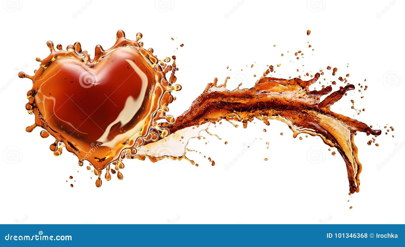 从可乐飞溅的心脏与在白色隔绝的泡影