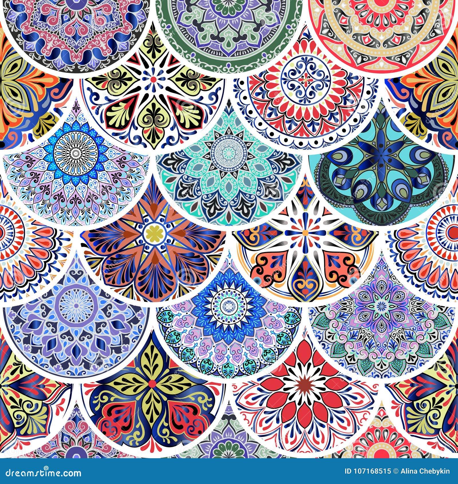 从圈子的五颜六色的花卉无缝的样式与在补缀品boho别致样式的坛场
