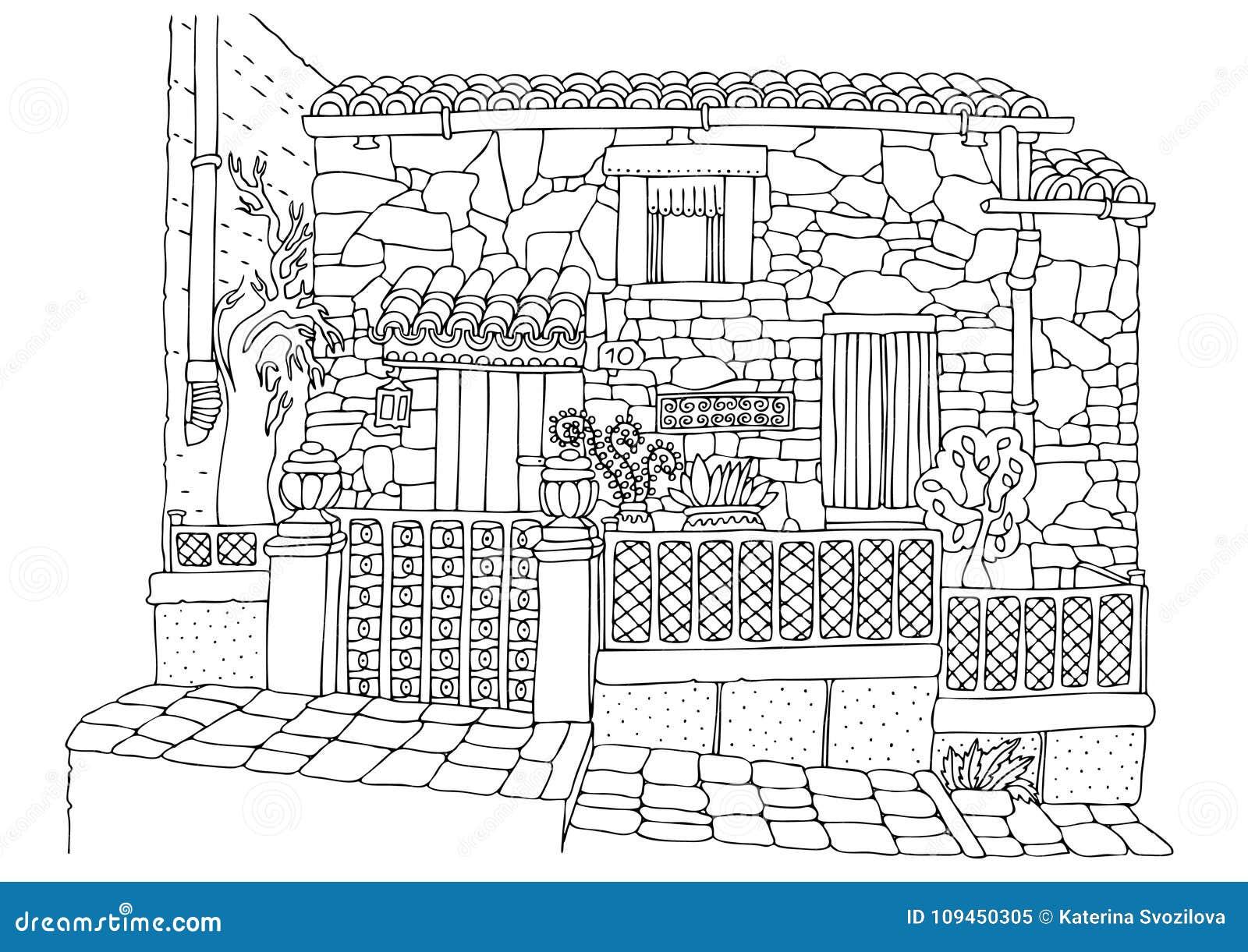 从地中海海岸的手拉的浪漫房子