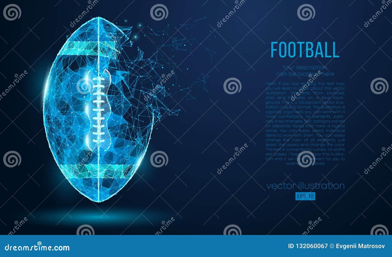 从微粒、线和三角的抽象美式足球球在蓝色背景 网络技术橄榄球 向量