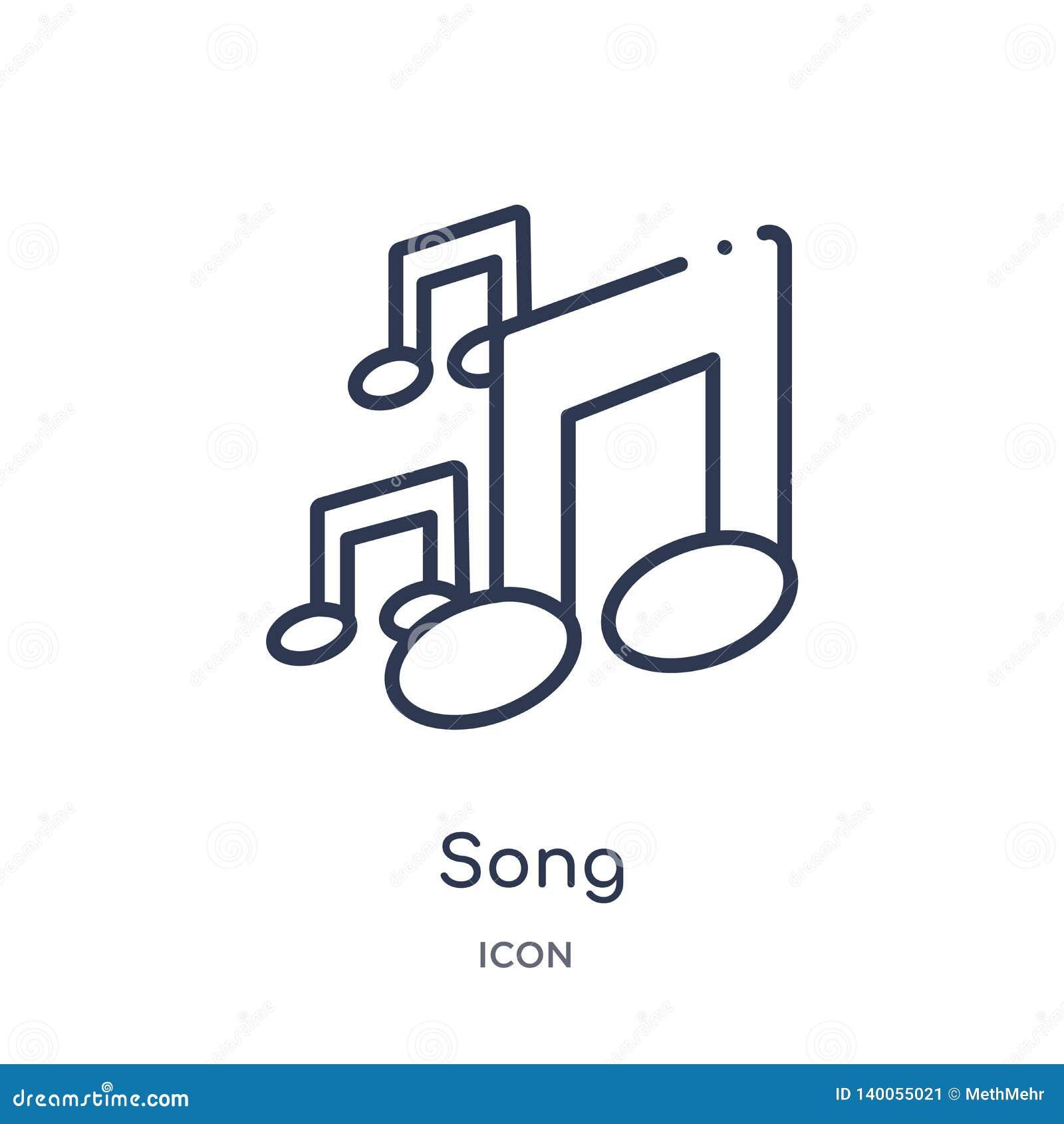 从教育概述汇集的线性歌曲象 稀薄的线在白色背景隔绝的歌曲传染媒介 歌曲时髦例证