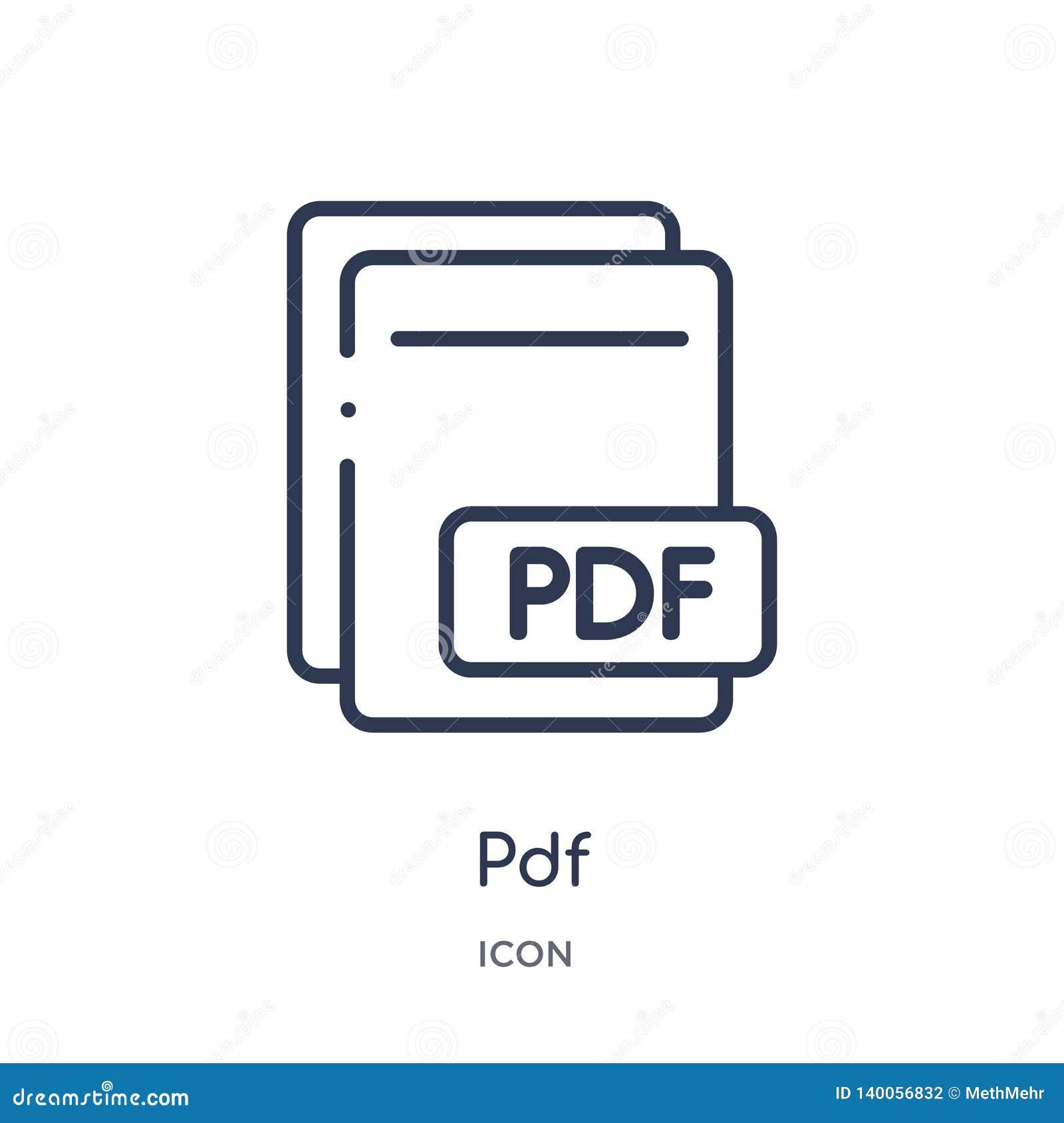 从文件类型概述汇集的线性pdf象 稀薄的线在白色背景隔绝的pdf传染媒介 pdf时髦例证
