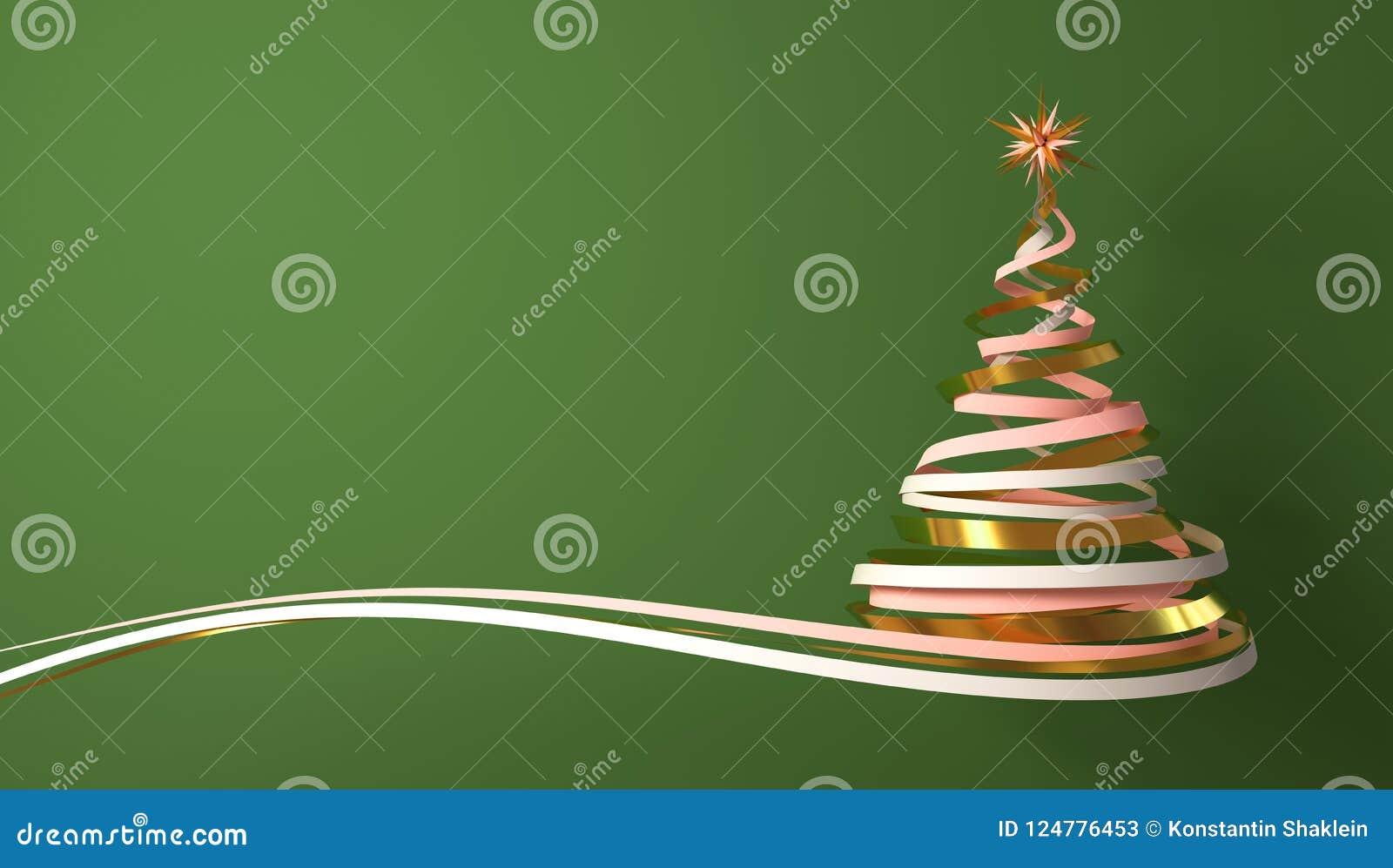 从白色、桃红色和金磁带的圣诞树在绿色背景