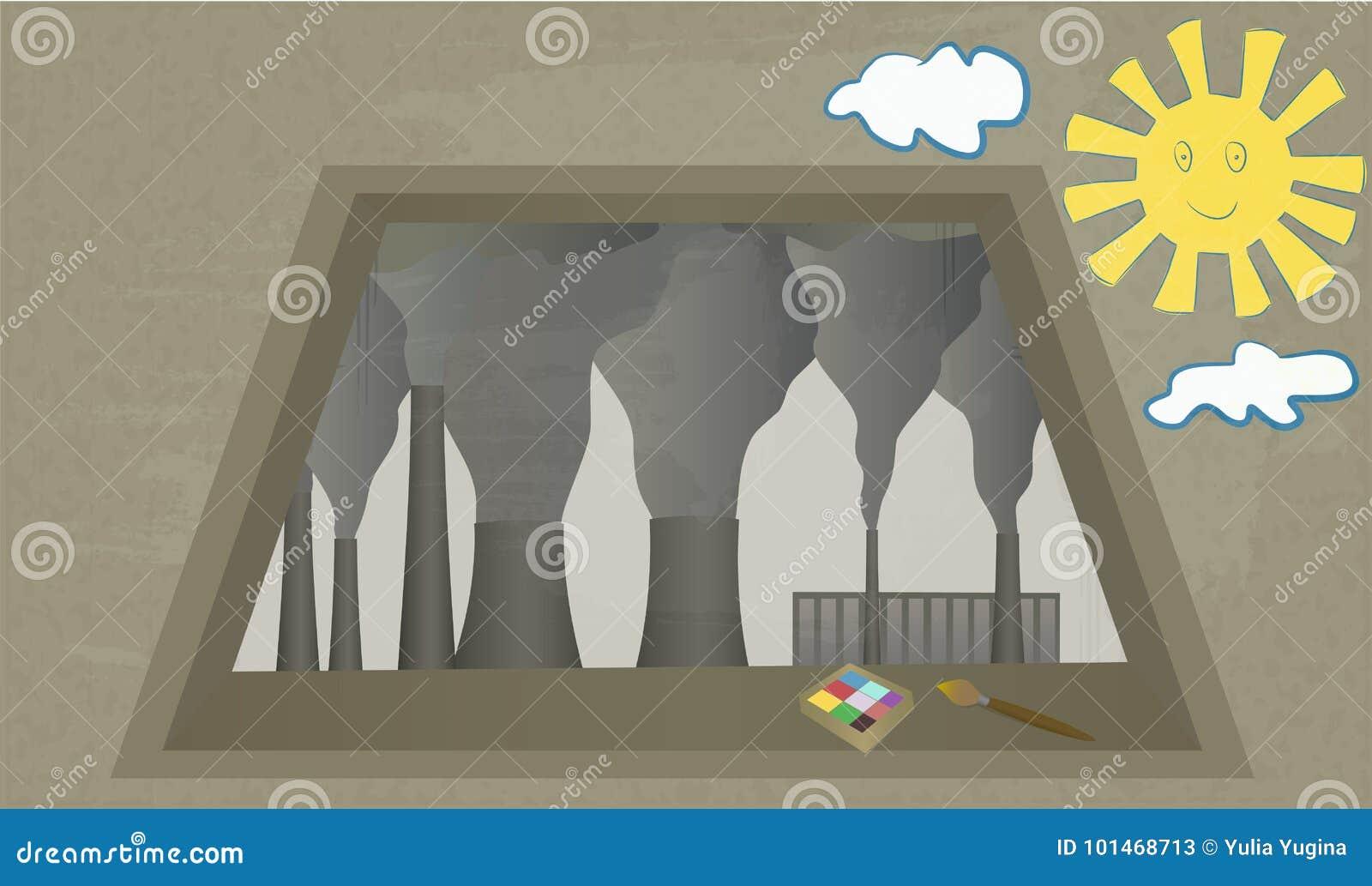 从窗口的看法在植物抽烟的烟囱