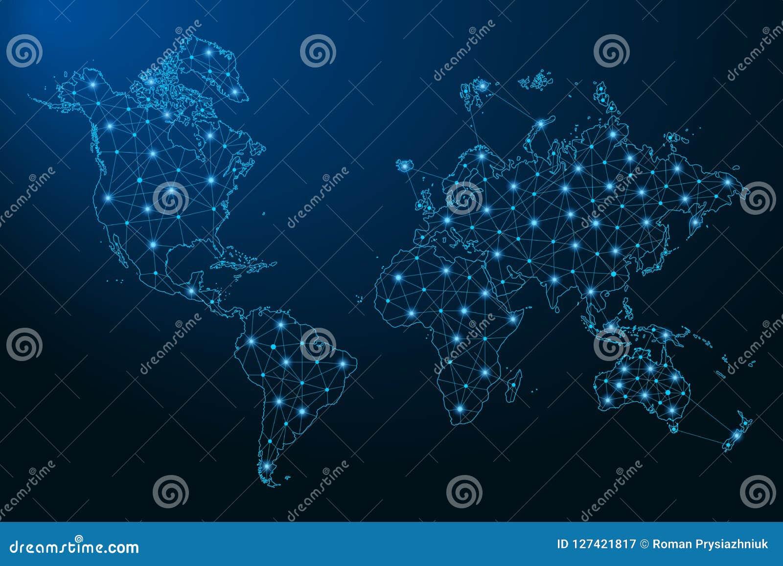 从线和明亮的点创造的抽象世界地图以满天星斗的天空的形式,多角形wireframe滤网和被连接的线