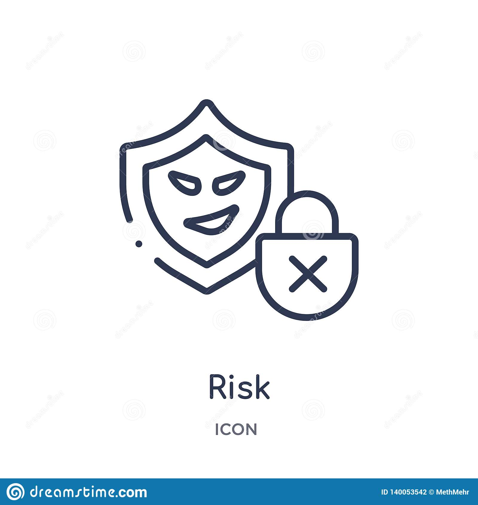 从网络概述汇集的线性风险象 稀薄的线在白色背景隔绝的风险传染媒介 风险时髦例证