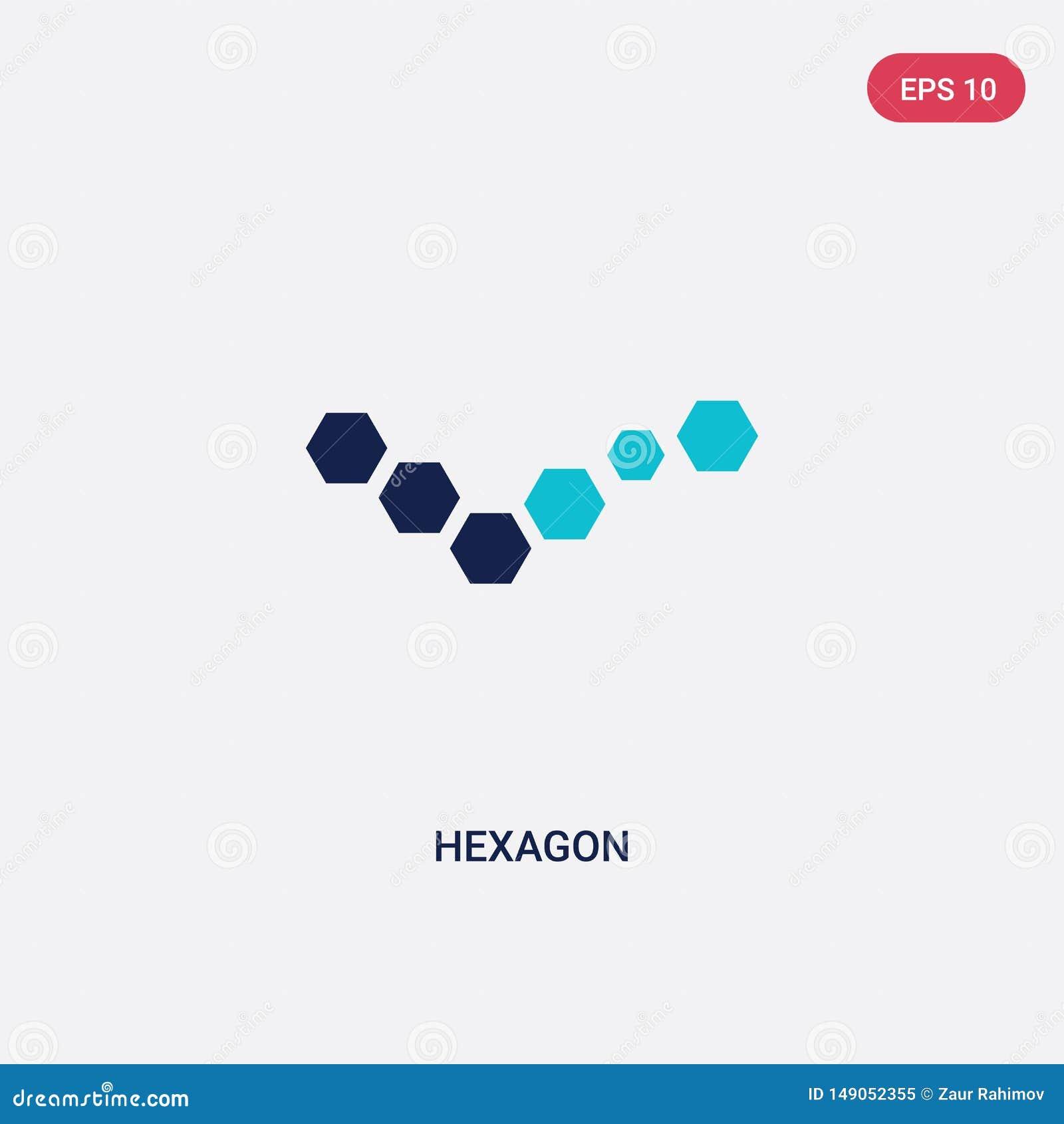从逻辑分析方法概念的两种颜色的六角形传染媒介象 被隔绝的蓝色六角形传染媒介标志标志可以是网、机动性和商标的用途
