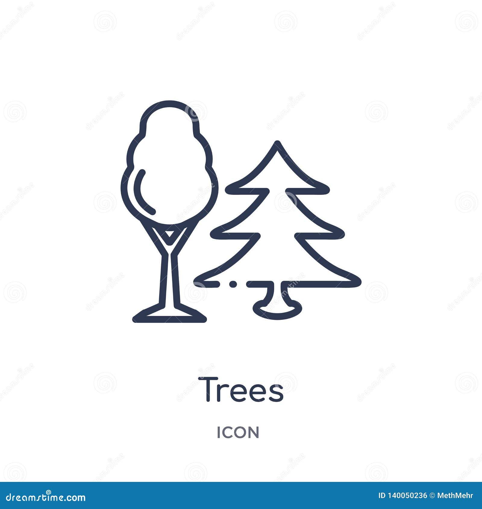 从野营的概述收藏的线性树象 稀薄的线树在白色背景导航隔绝 树时髦例证