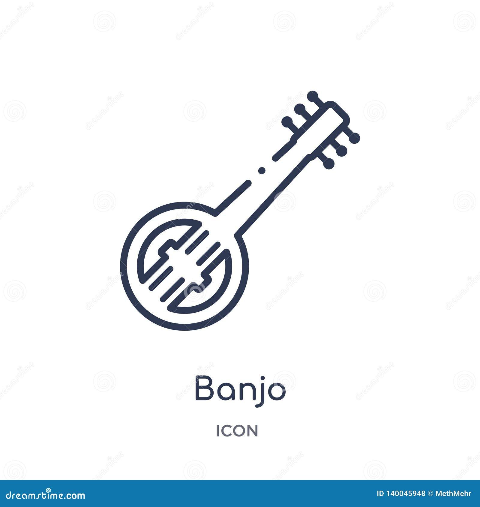 从非洲概述汇集的线性班卓琵琶象 稀薄的线在白色背景隔绝的班卓琵琶传染媒介 班卓琵琶时髦例证
