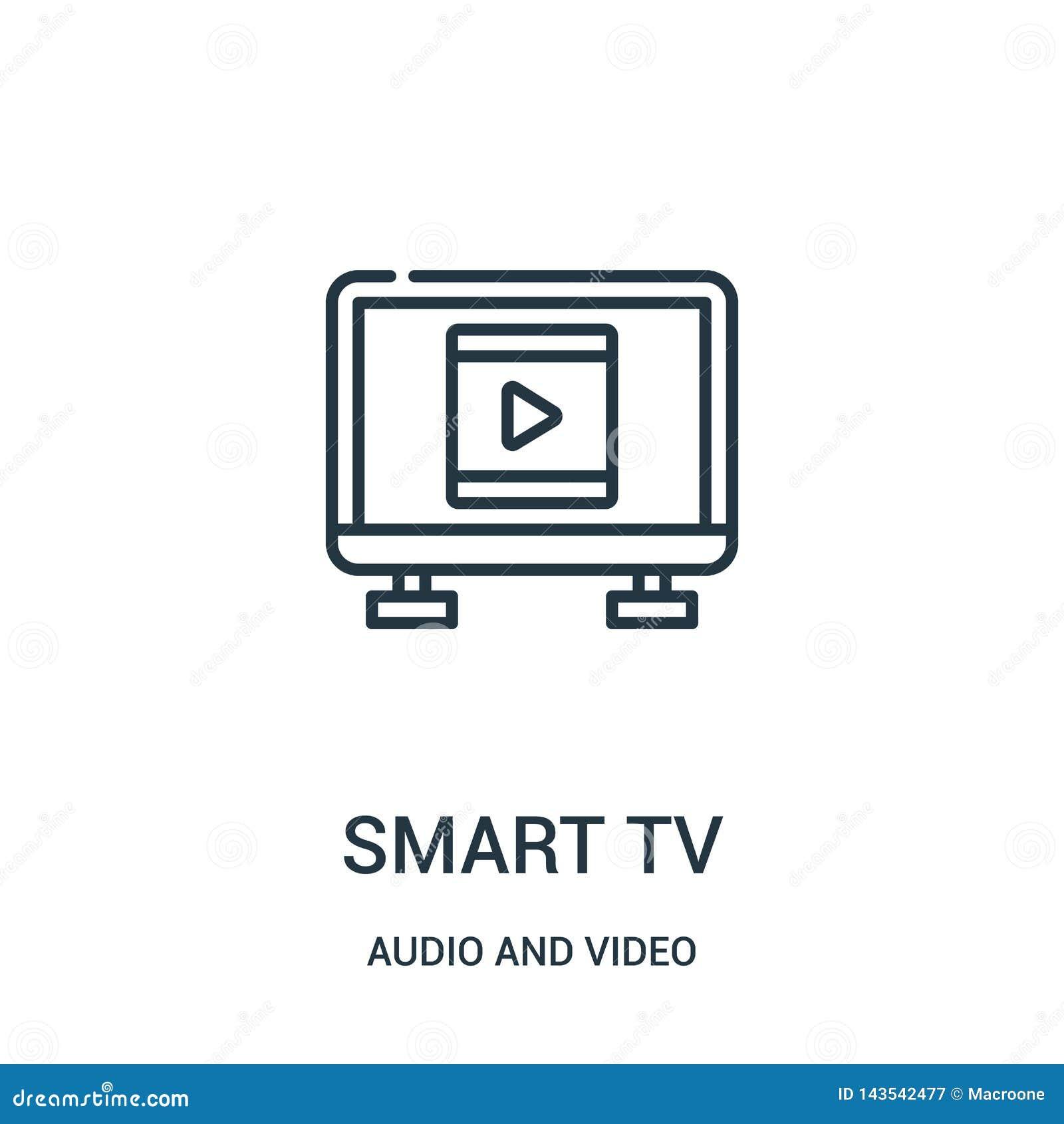 从音频和录影收藏的聪明的电视象传染媒介 稀薄的线聪明的电视概述象传染媒介例证