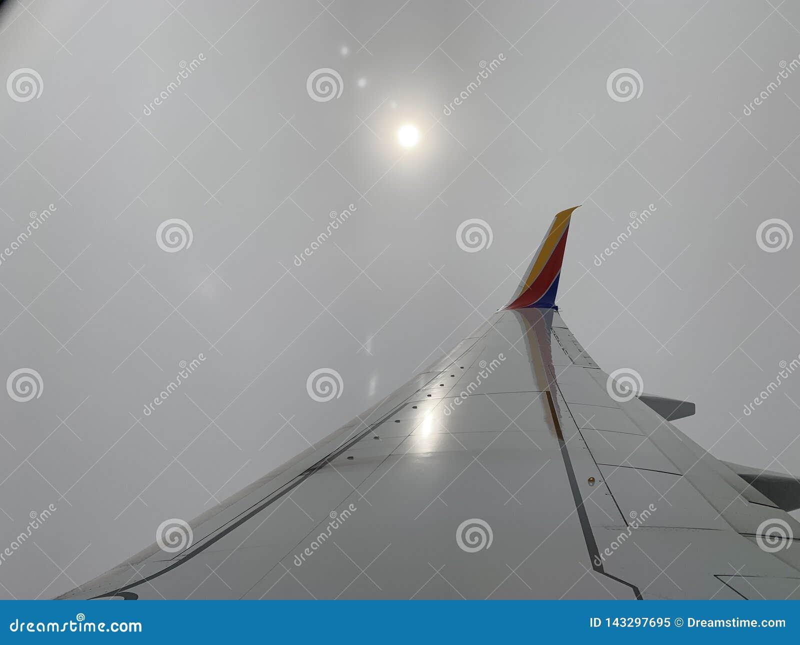 从飞机的朦胧的下午太阳
