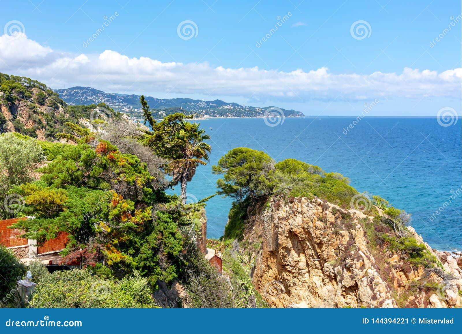 从Marimurtra植物园看的布拉瓦海岸海岸线在布拉内斯,西班牙