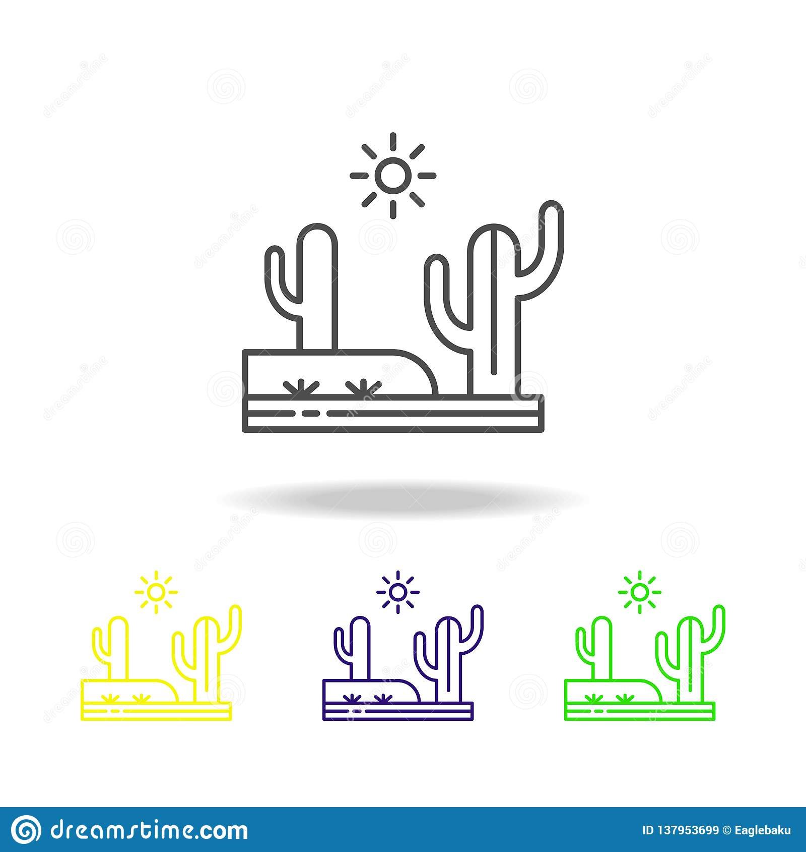 仙人掌,沙漠,热,晴朗的色的象 能为网,商标,流动应用程序,UI,UX使用