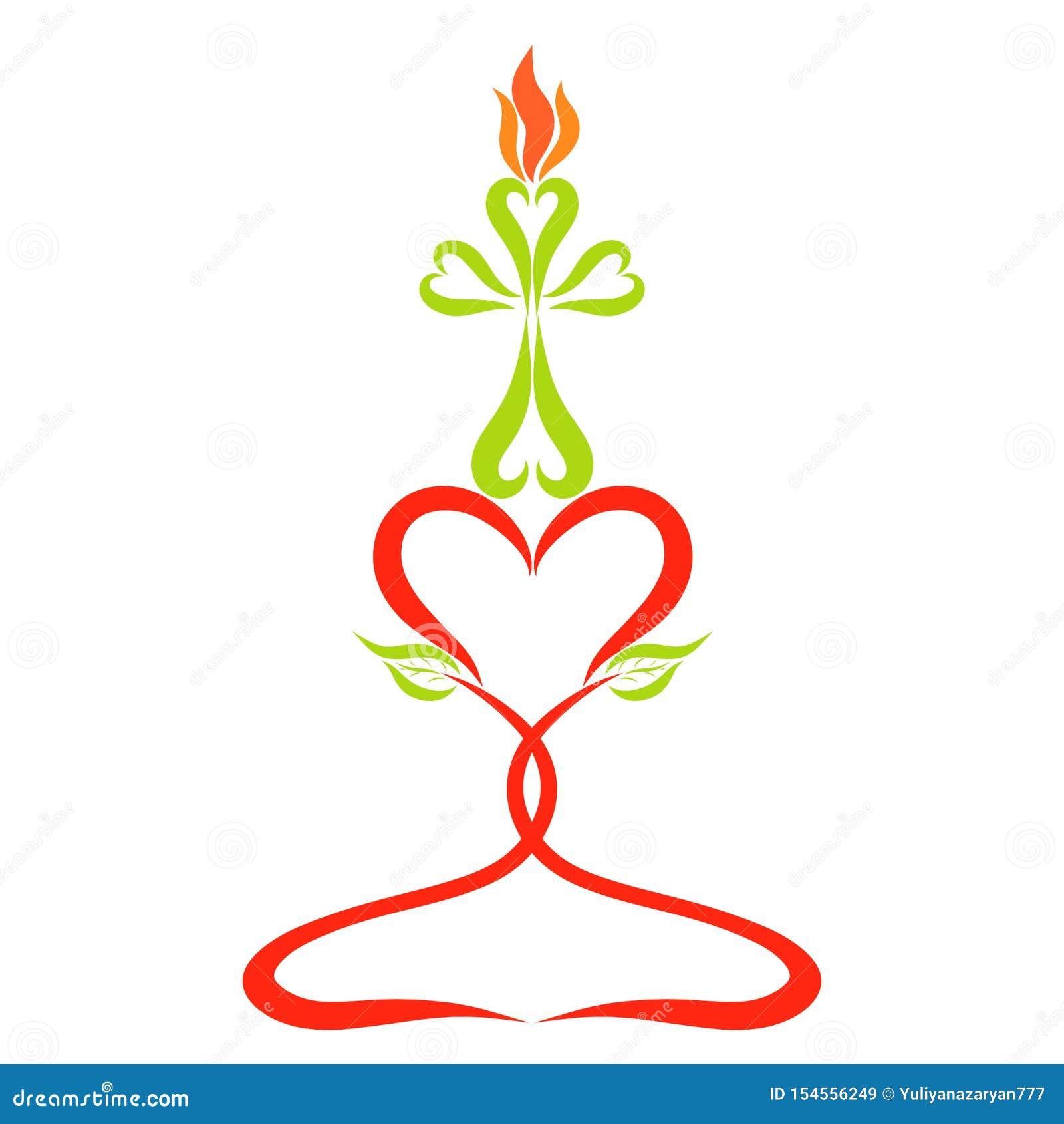 以一个十字架的形式燃烧的蜡烛在心脏