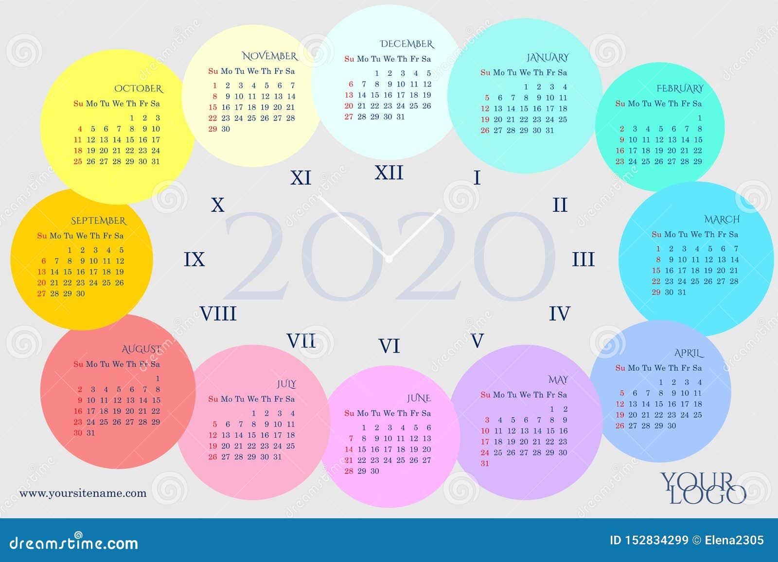 以一个时钟的形式日历2020年与几个月