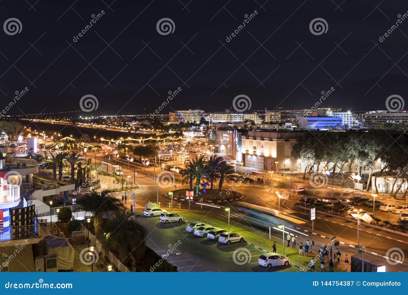 以色列市埃拉特地平线在夜之前