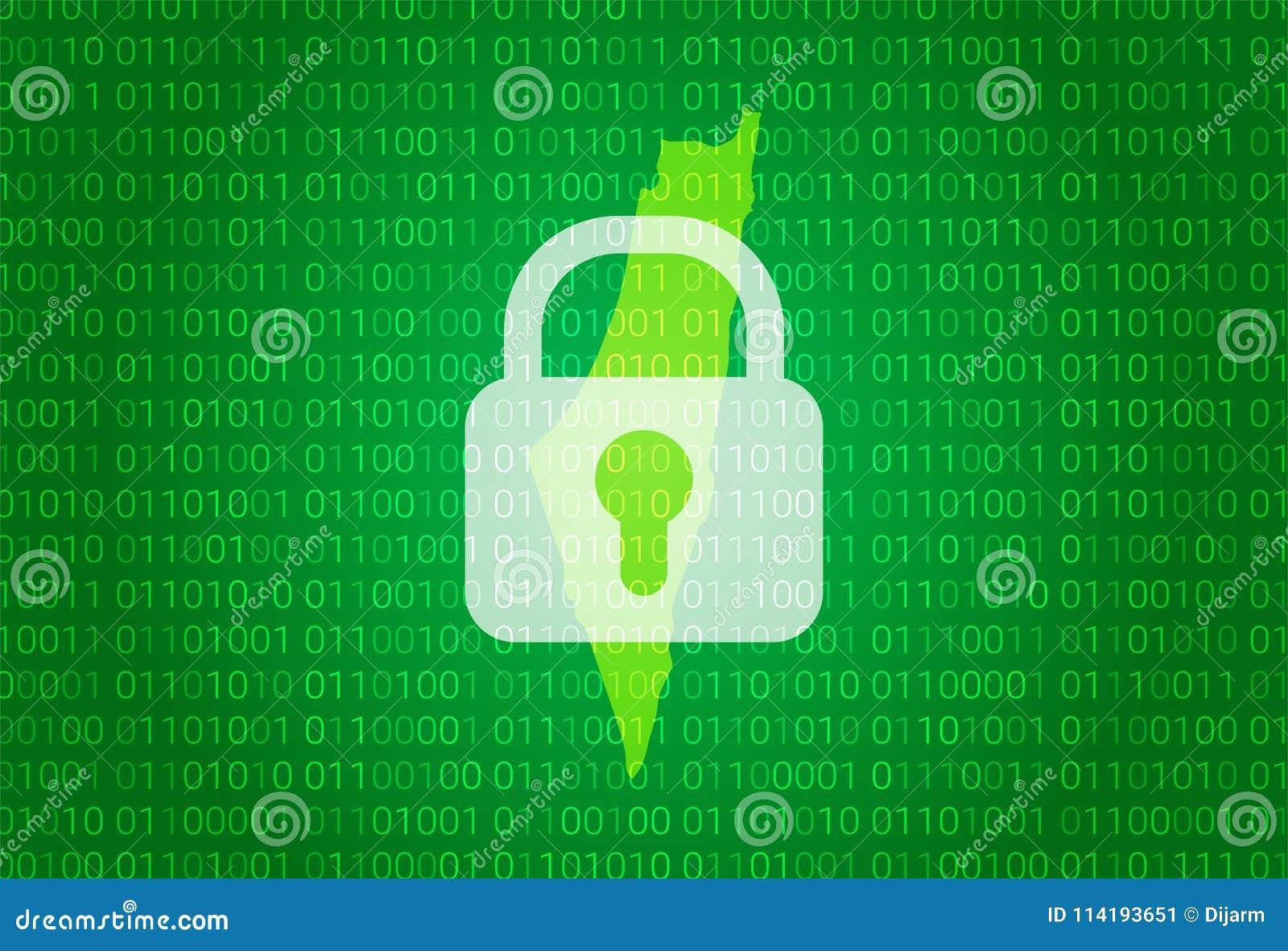 以色列映射 例证有锁和二进制编码背景 阻拦的互联网,病毒攻击,保密性保护