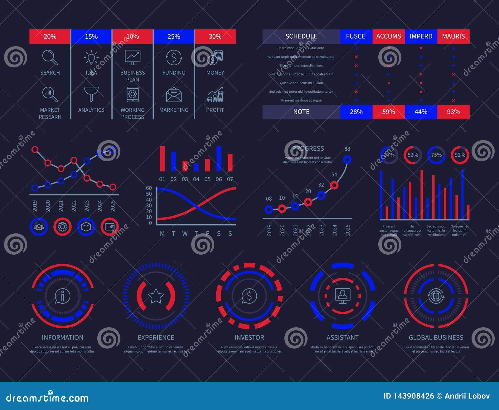 仪表板infographic hud图连接分析例证数据透视经营战略处理传染媒介