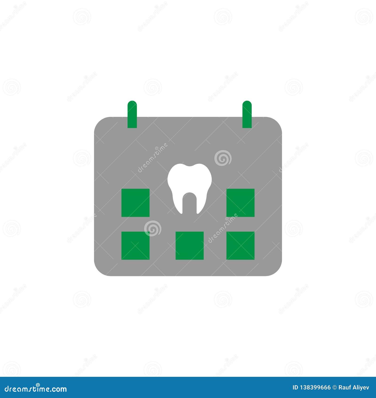 任命和日历象 牙齿保护象的元素流动概念和网应用程序的 详细的任命和日历象