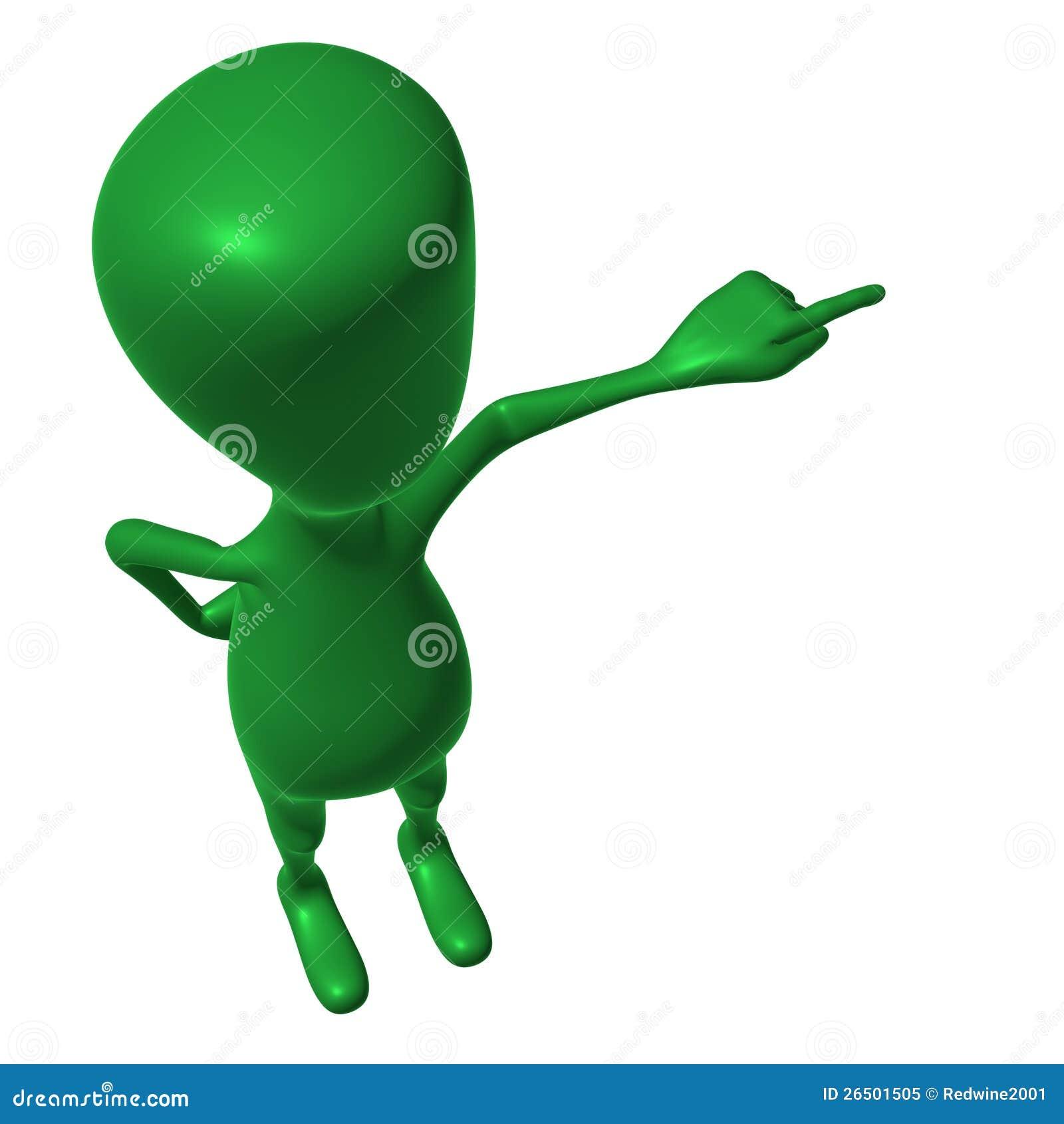 在视图仿造绿色3d的木偶之上指向手指.图片