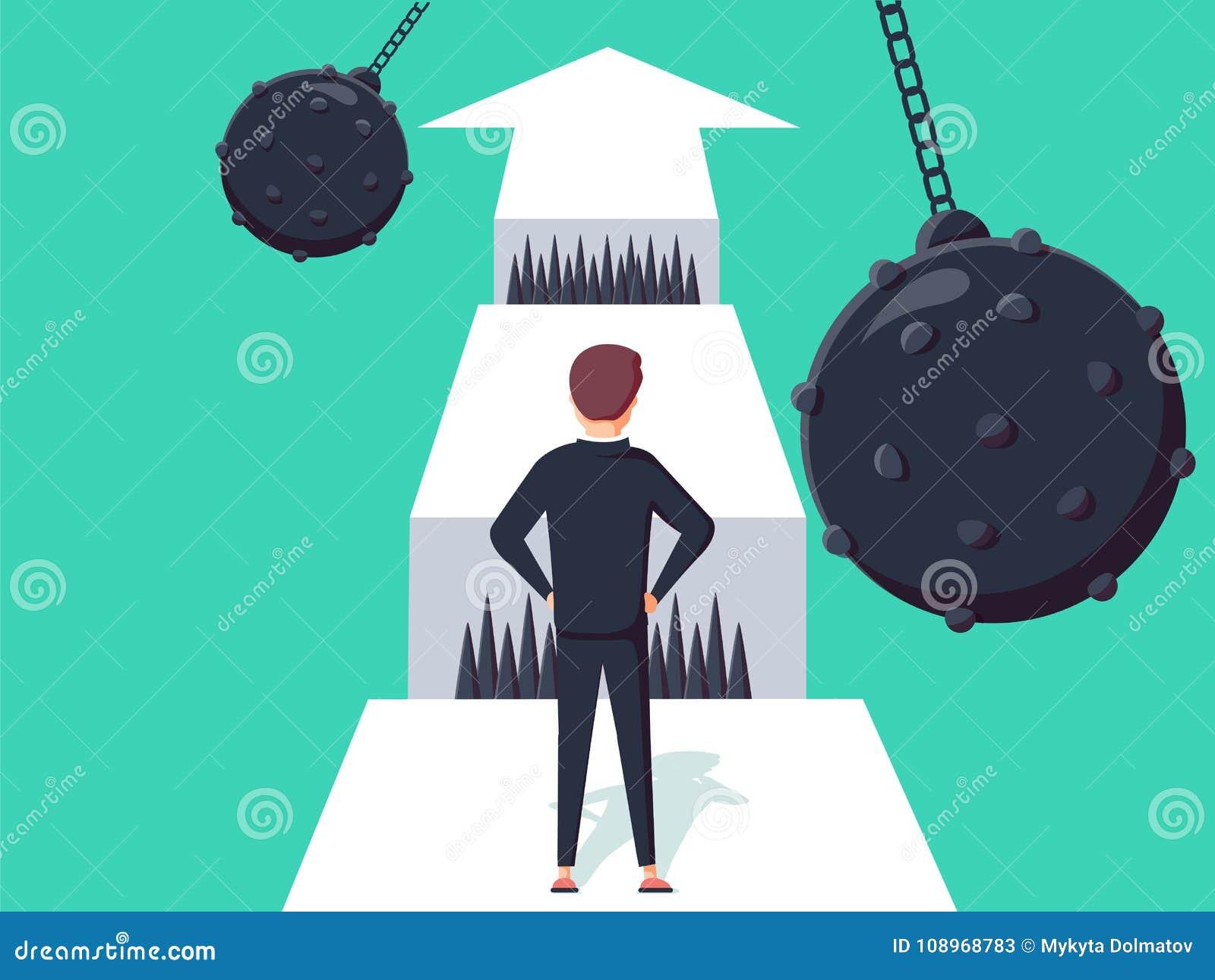企业与走往空白的商人的挑战概念 克服的成功或的机会,志向的标志