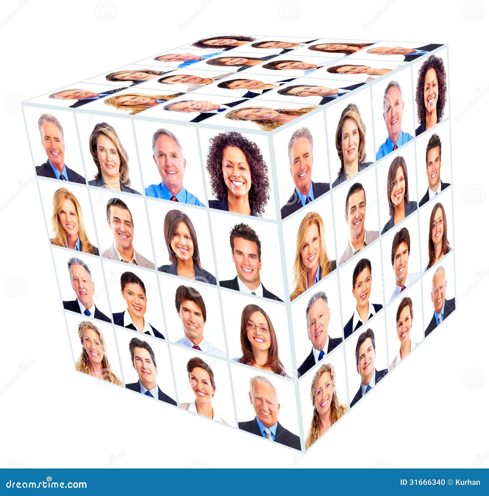 企业人小组。立方体拼贴画。