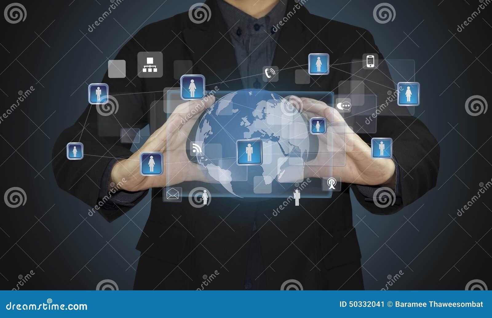 企业人连接一个计算机生成的社会网络概念.图片