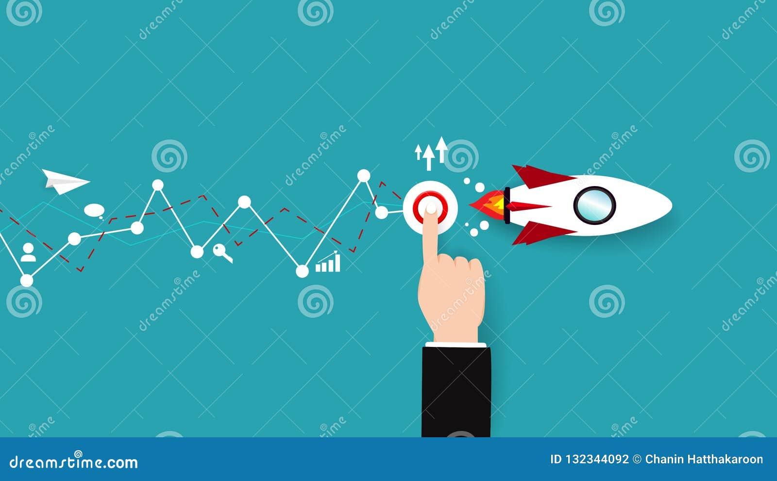 企业传染媒介,有迅速上升的按钮助推器的纸飞机,平展