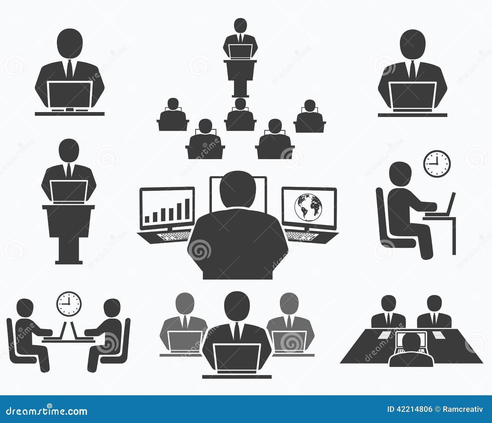 企业例证JPG人向量 办公室象,会议,计算机工作