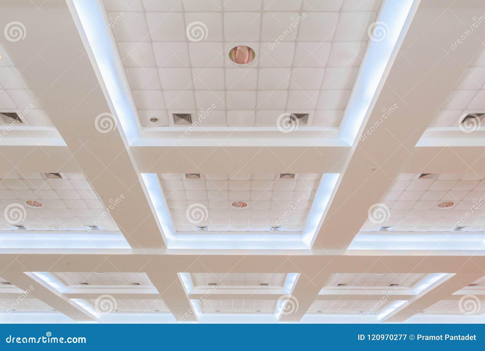企业内部办公楼和光氖天花板  与拷贝空间的样式黑白照片