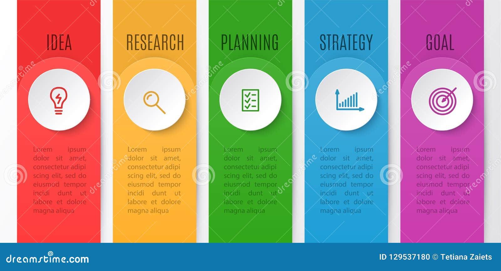 企业创造性的概念的Infographics图 与5步的时间安排 infographic元素的传染媒介例证为