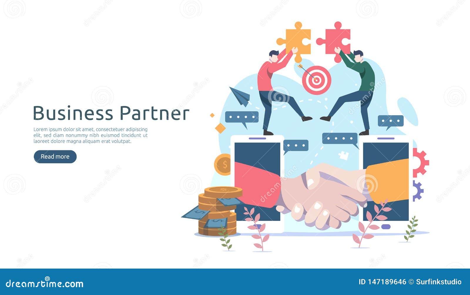 企业合作联系与微小的人字符的概念想法 网着陆页的队运作的伙伴一起模板