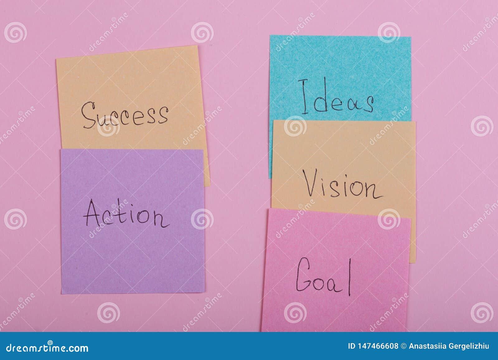 企业和成功概念-与词成功,行动,目标,视觉,想法的五颜六色的稠粘的笔记
