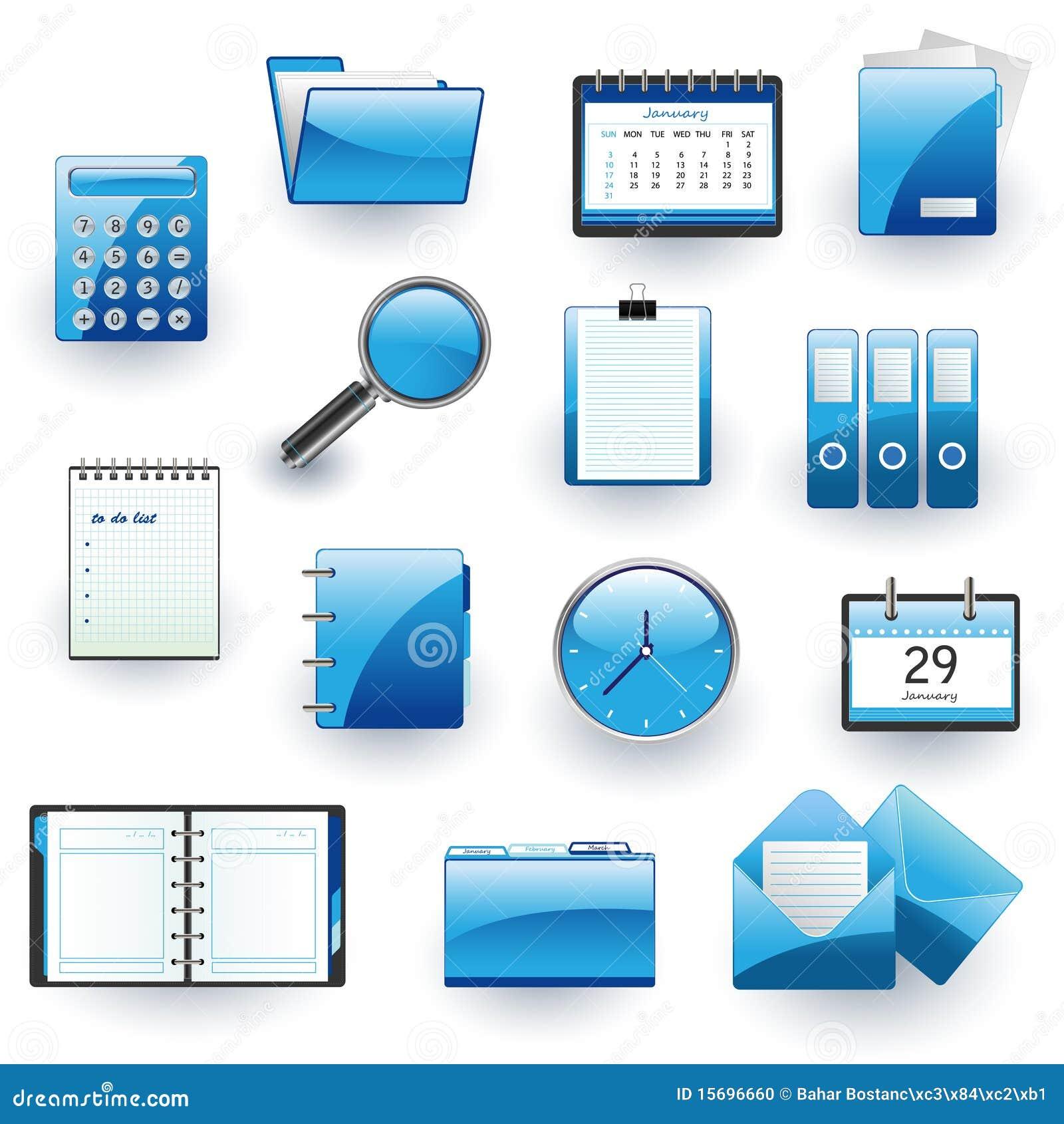 企业图标办公室集合向量