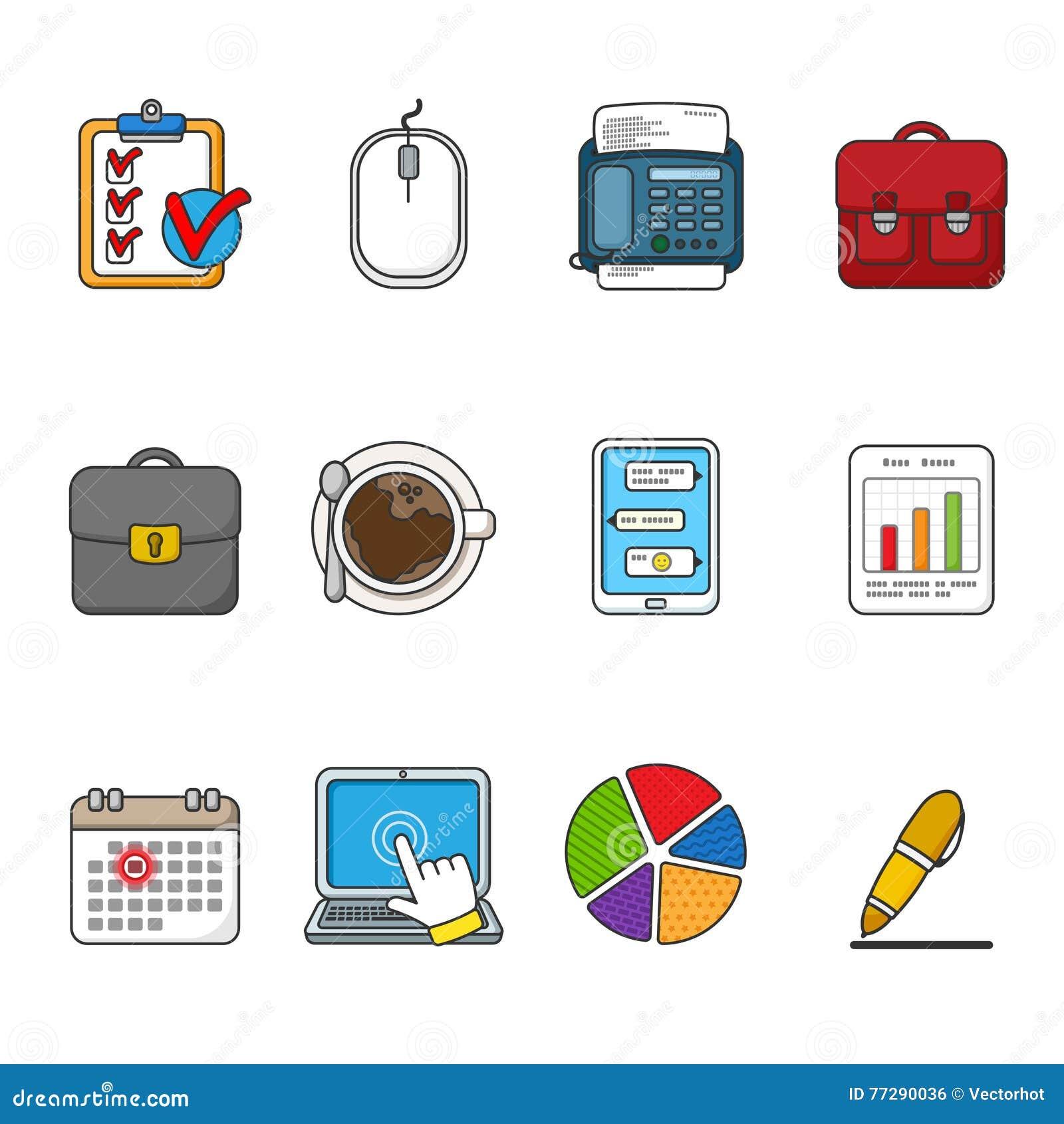 企业图标被设置的向量 颜色被概述的象收藏