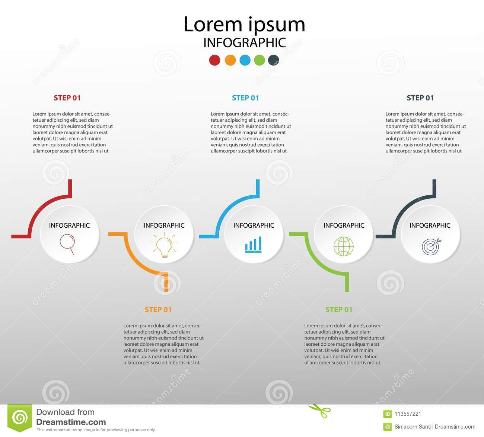 企业多色infographics的现代设计元素 Vec