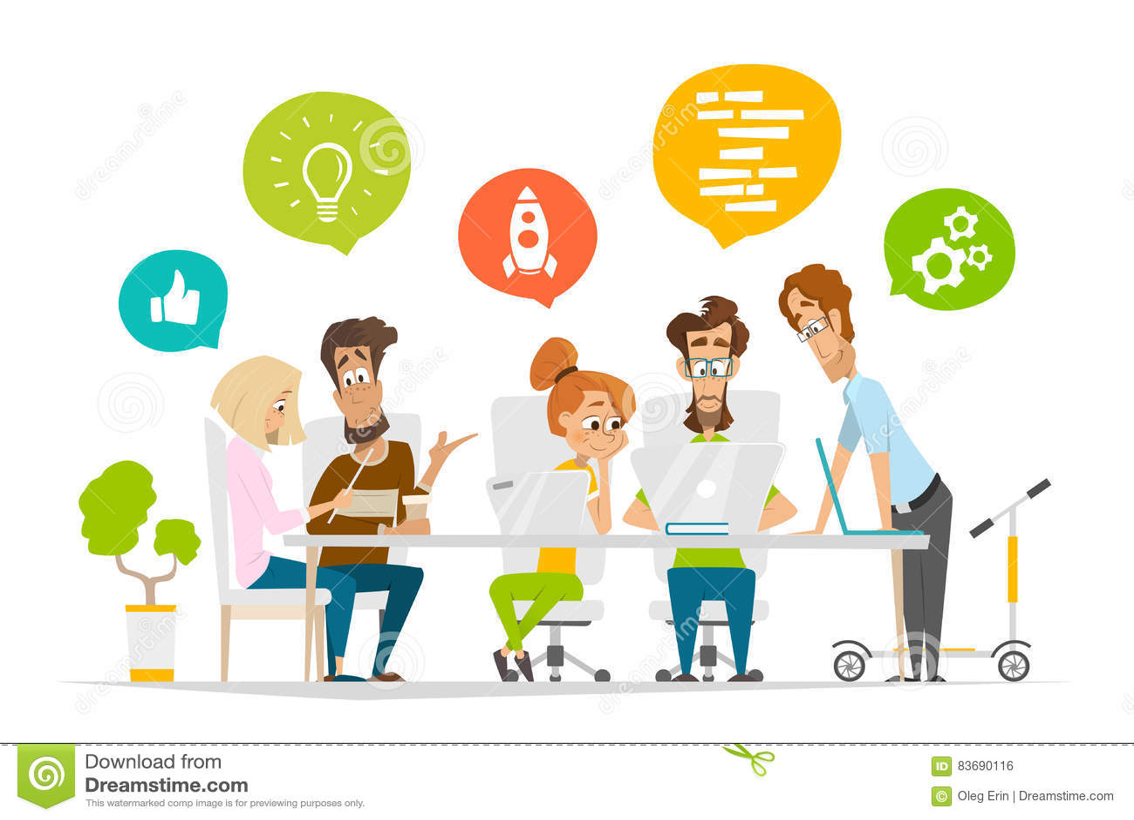 企业字符人在现代办公室合作场面配合
