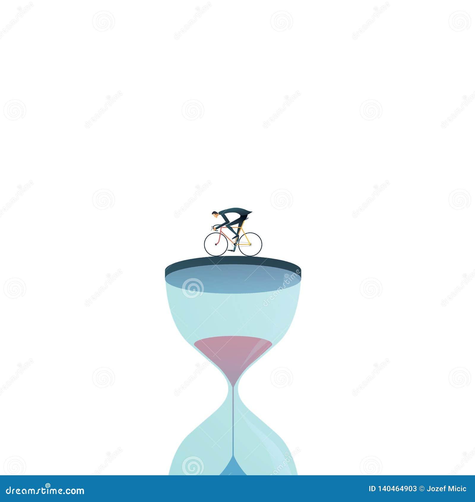 企业工程截止期限与赛跑与时钟,滴漏的商人的传染媒介概念 重音的标志,下