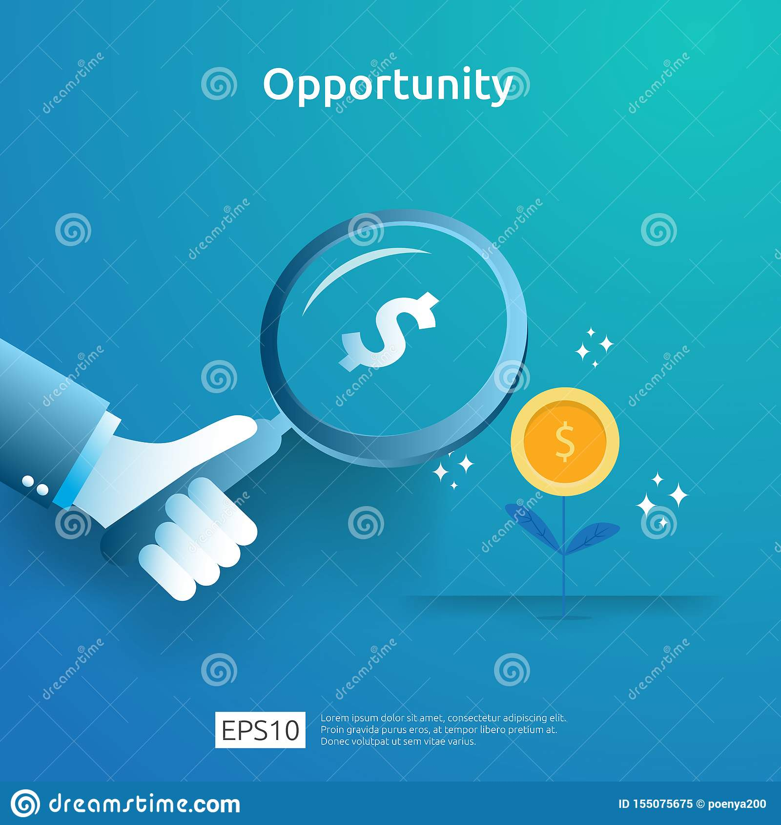 企业想法与增量成长图表图和放大镜的分析和机会研究概念在手边 ??