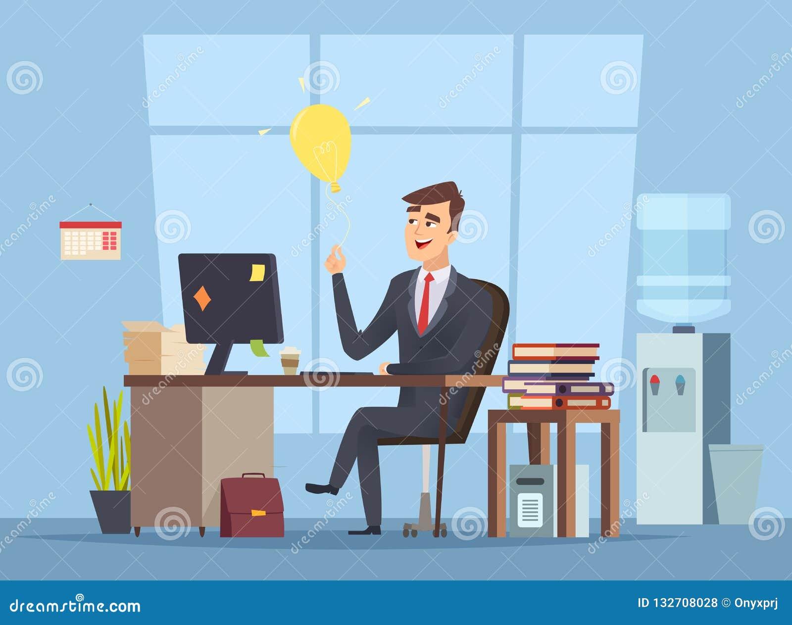 企业想法查寻 办公室经理有成功愉快的工作传染媒介字符的聪明的头脑电灯泡起始的概念