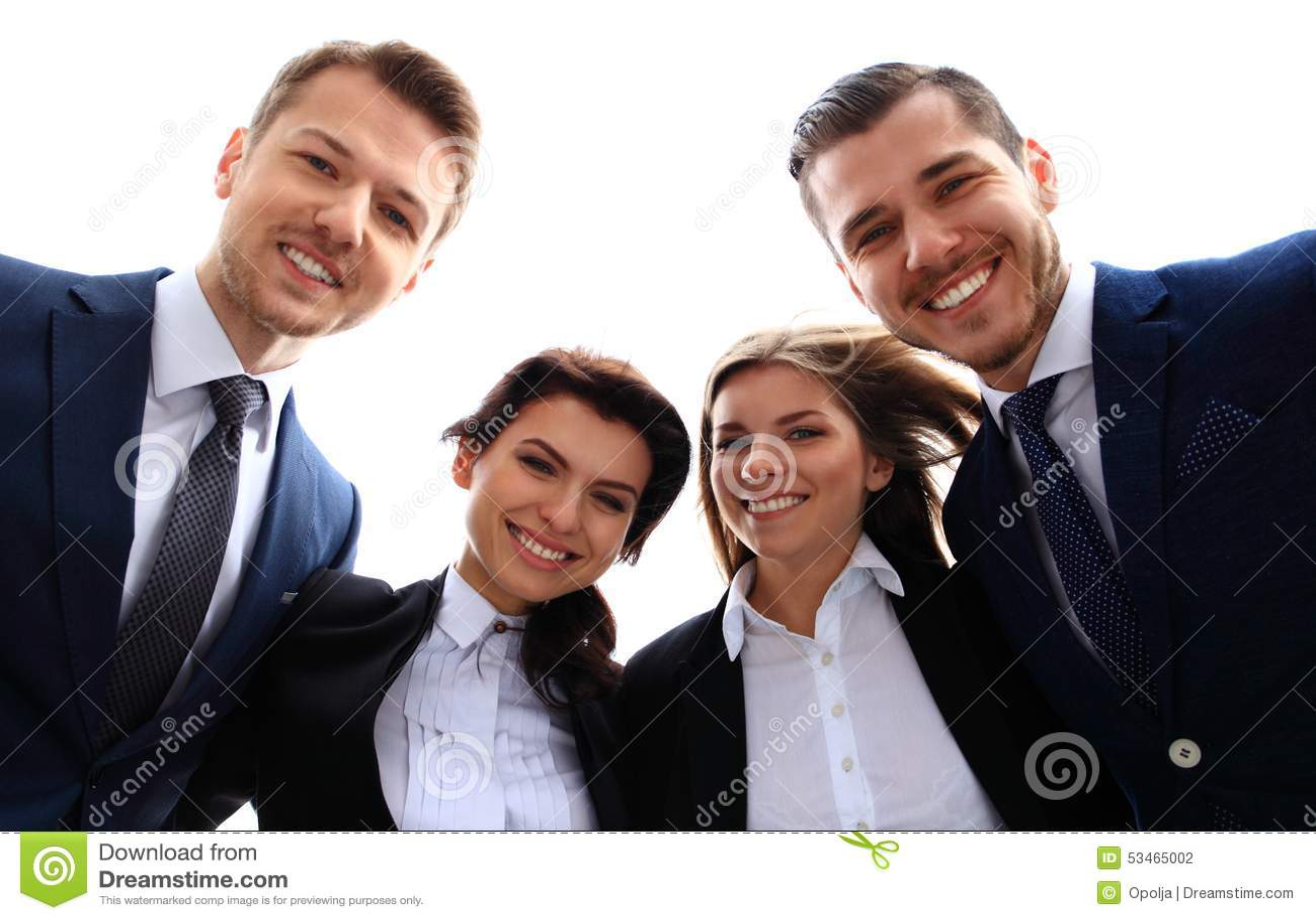 企业愉快的微笑的小组