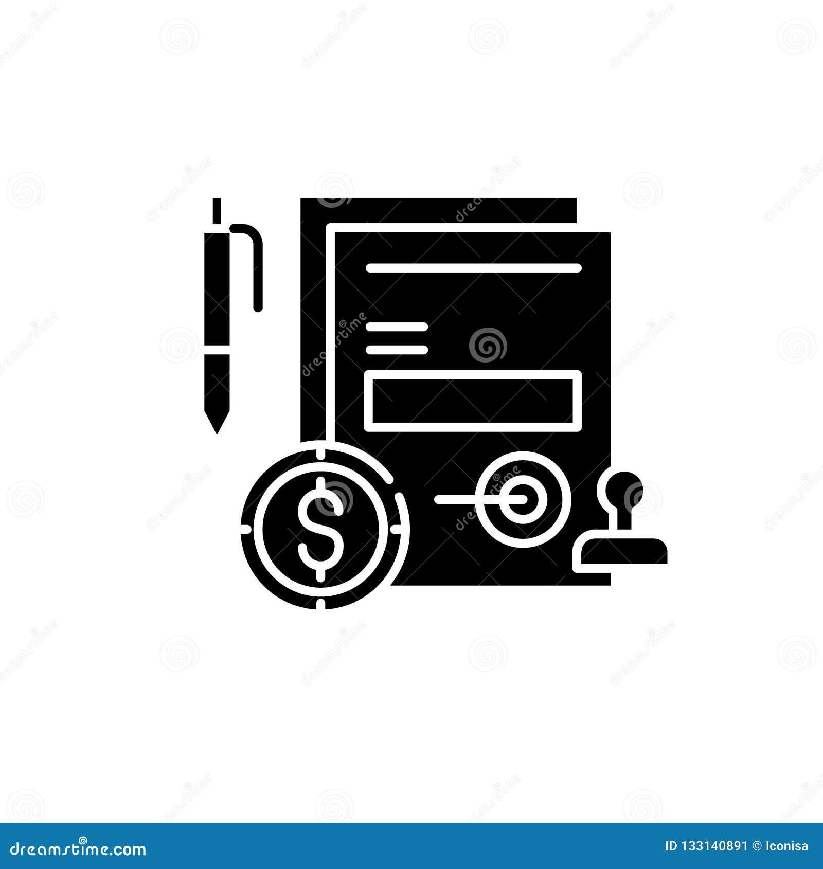 企业承诺黑色象,在被隔绝的背景的传染媒介标志 企业承诺概念标志,例证