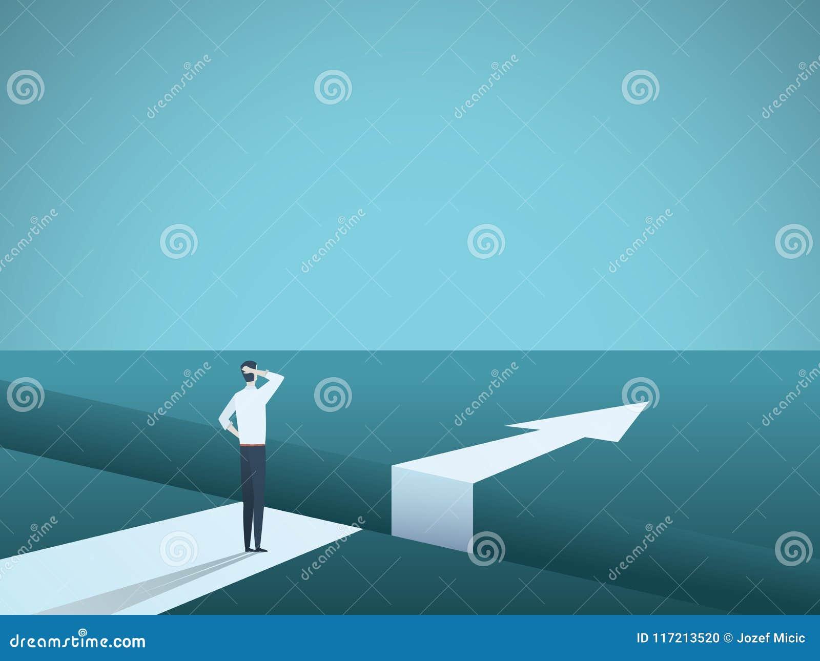 企业挑战和解答导航与站立在大空白的商人的概念 克服障碍的标志