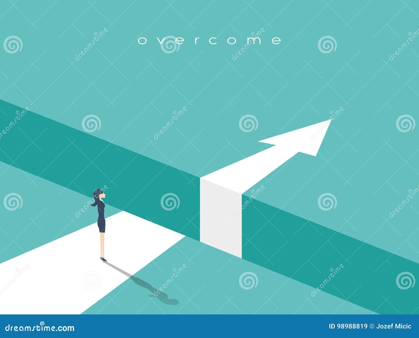 企业挑战或障碍传染媒介概念与女实业家站立在空白边缘的,峡谷有箭头去的
