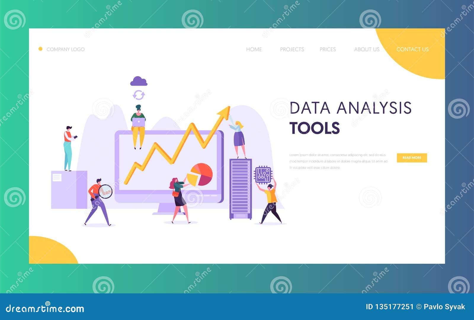 企业数据分析软件着陆页 分析由创造性的字符的市场的营销策略发展