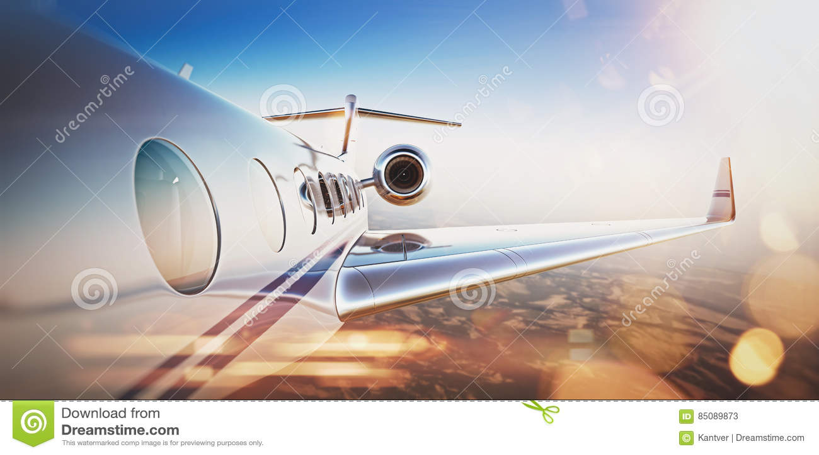 企业时钟概念另外显示的时间时区旅行 白色豪华私人喷气式飞机飞行普通设计在蓝天的在日落 无人居住的沙漠